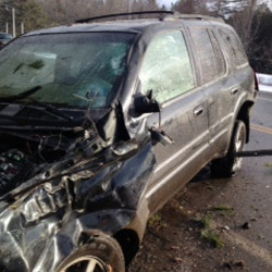 Sheldon Woodard was ejected through a passenger side window of his 2002 Oldsmobile Bravada SUV, seen here in a photo provided by the Somerset County Sheriff's Office. The vehicle rolled over Friday morning on Guilford Road in Cambridge.