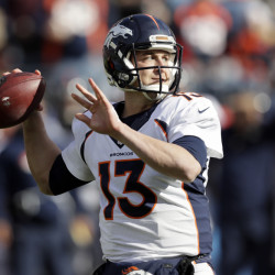 Denver Broncos quarterback Trevor Siemian passes against the Titans in the first half of a game Sunday in Nashville, Tennessee.