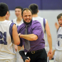 Former Waterville boys basketball coach Wade Morrill, center, now the head coach at Monmouth Academy, is one of many area coaches who was influenced by his time at the University of Maine at Farmington.