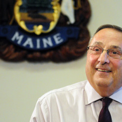 Gov. Paul LePage speaks to reporters on Oct. 12 in the State House Cabinet Room in Augusta.