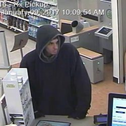 A Rite Aid surveillance photo shows the man police believe robbed the Skowhegan pharmacy Monday morning.
