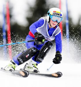 Elli Andrus, of Camden-Rockport Middle School, races during the 12th annual Marlee Johnston Memorial Ski Race on Saturday at Kents Hill School's O'Connor Alpine Ski Training Center in Readfield.