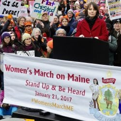 Sen. Shenna Bellows, D-Manchester, speaks on Saturday at the Women's March on Maine rally held behind the State House in Augusta.