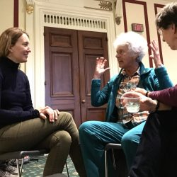 Genevieve Morgan, left, march state organizer for Maine, shares a moment with Ruth McNiff and Libby Schecher of Hallowell at a reception held by U.S. Rep. Chellie Pingree, D-1st District, at the Rayburn House Office Building Saturday.