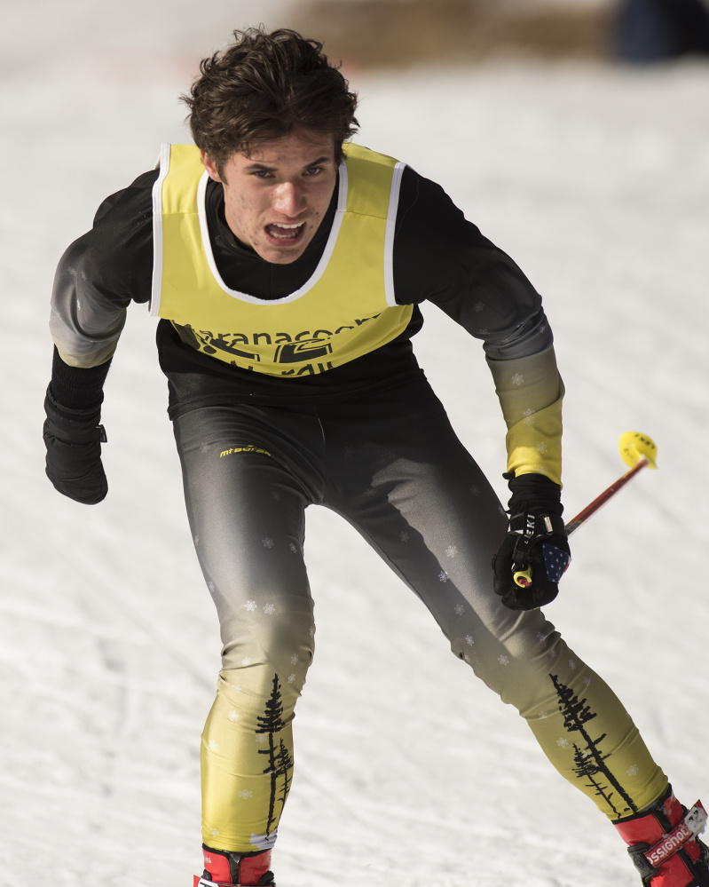 Maranacook Community High School senior Ruslan Reiter competes in the Maranacook Wave race Jan. 21 in Readfield.