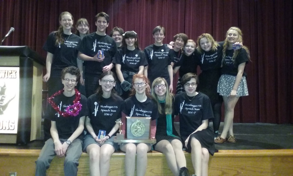 The Skowhegan Area High School speech team won the state championship Saturday. They are, front row left to right, Wyatt Carey, Sarah Brooker, Lily Weston, Sydney Lyman and Brianna Ladaga. In back row: Samantha Coombs, Phoebe Lyman, Taylor Kruse, Bailey Weston, Maggie Pono, Adelle Belanger, Anna Bourassa, Romy Gerstenberger, Haley Surette and Emma York.