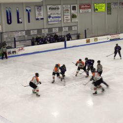Waterville and Gardiner face off in a Class B hockey game Saturday night at the Camden National Bank Ice Vault. Waterville won, 5-3.
