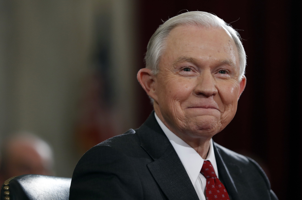 Attorney General Jeff Sessions, seen at his confirmation hearing in January, has said he's committed to aggressive enforcement of federal drug laws.