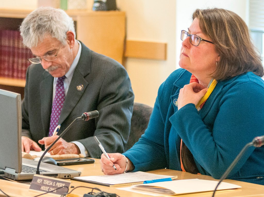 Sen. Roger Katz, R-Augusta, and Rep Teresa Pierce, D-Falmouth, co-chairs of the Legislature's Marijuana Legalization Implementation Committee, listen to testimony at Tuesday's hearing.