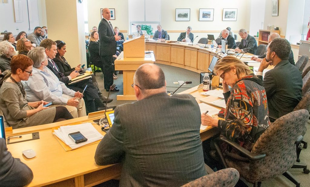 The Legislature's Marijuana Legalization Implementation Committee hears testimony Tuesday at the Cross State Office Building in Augusta. Lawmakers are starting the process of setting up a regulatory and enforcement framework for recreational marijuana.