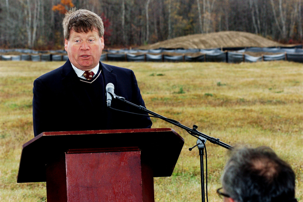 Fiberight solid waste facility CEO Craig Stuart-Paul speaks on Oct. 26 during a groundbreaking ceremony at the facility's site on Colbrook Road in Hampden.