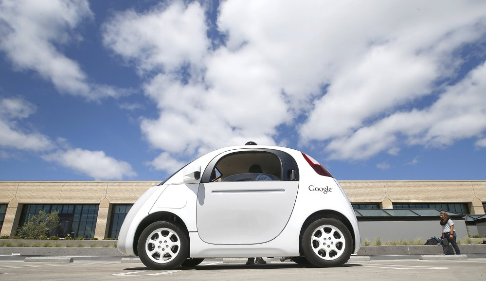 Google's self-driving prototype car is unveiled in 2015 in Mountain View, Calif. Supporters say driverless cars may one day be far safer than those with humans at the wheel, since the machinery won't drive distracted, drunk or drowsy.