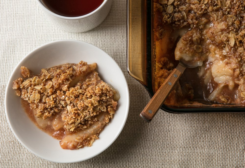Pear crumble is a comfort food that takes a healthful approach by not relying on butter.