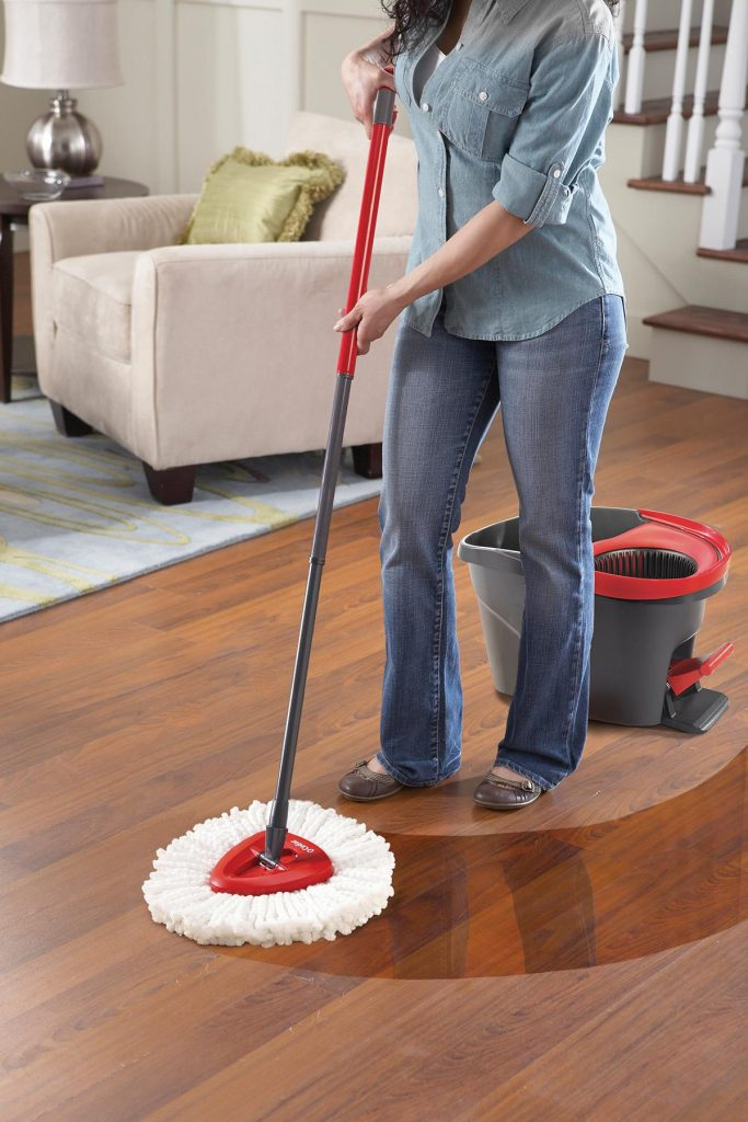 The O-Cedar EasyWring Spin Mop & Bucket System's built-in wringer offers superior moisture control of the mop, making  it safe and easy to use on all hard floor surfaces.