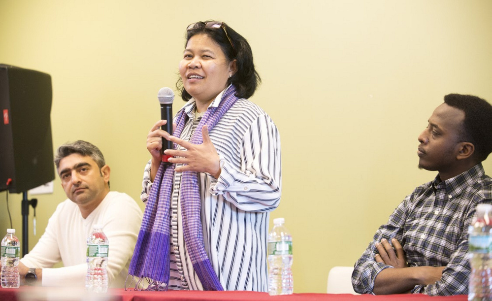 Cambodian refugee Makara Meng told those gathered Monday at the Holocaust and Human Rights Center of Maine that she remembers being 7 years old and getting up at 4 a.m. to work in the fields, only to be rewarded with a cup of water that included