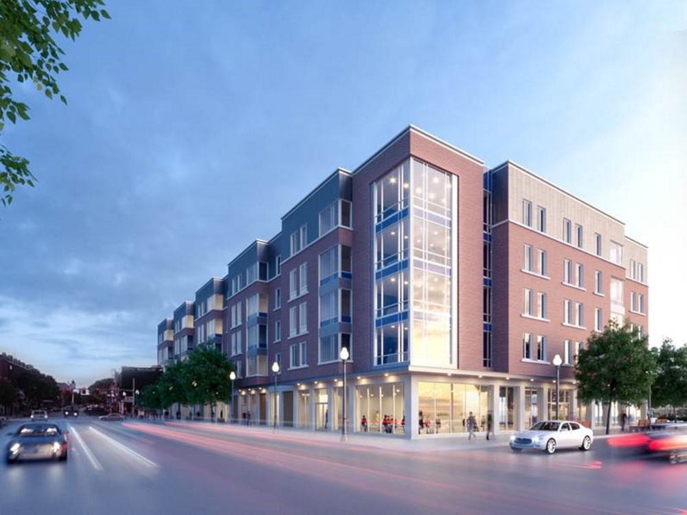 An artists' rendering by Ayers Saint Gross of Baltimore, Maryland, shows what a proposed Colby College residential complex would look like on Main Street in downtown Waterville.