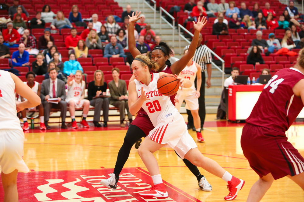 Boston University freshman Nia Irving drives to the basket during a Jan. 8 Patriot League game against Lafayette in Boston.