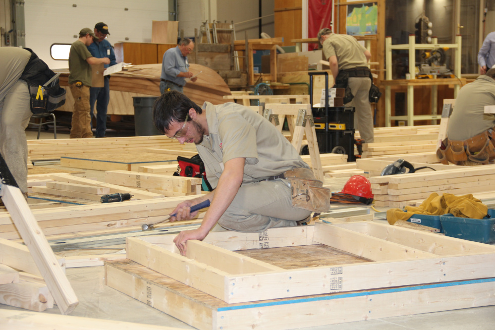 Adam Fisher from Messalonsee High School competing in the carpentry competition at the SkillsUSA Championships hosted by Eastern Maine Community College and United Technology Center in Bangor.