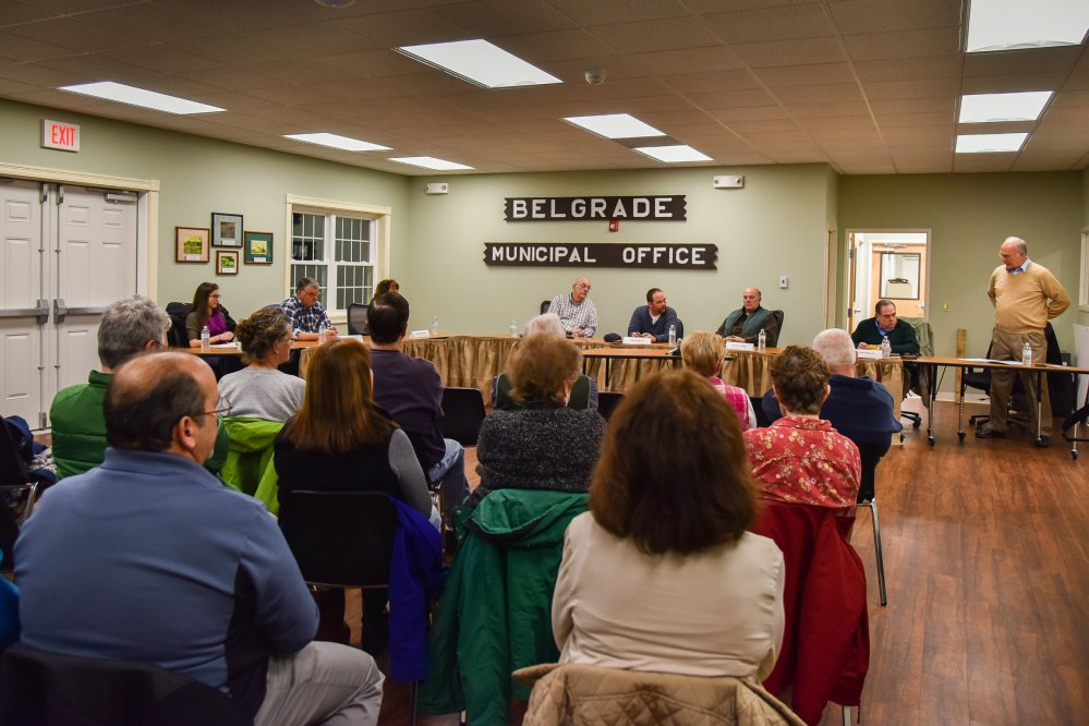 Candidates for local office attend a public forum Wednesday at the Belgrade Town Office, answering questions from fellow residents as well as moderator Dennis Keschl.