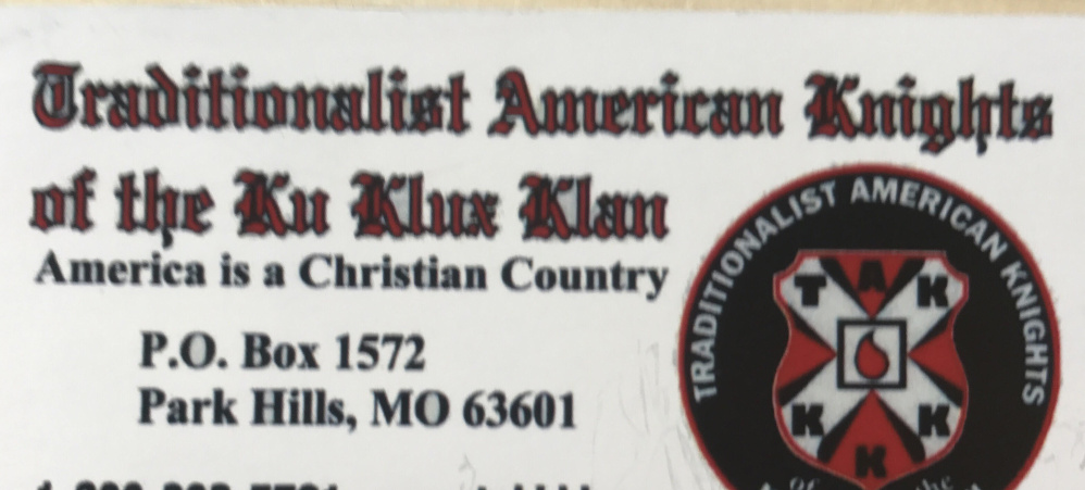 Hallowell resident Sarah Bigney says she found this Ku Klux Klan business card on the windshield of her car Monday morning. Bigney says she believes she was targeted because of the