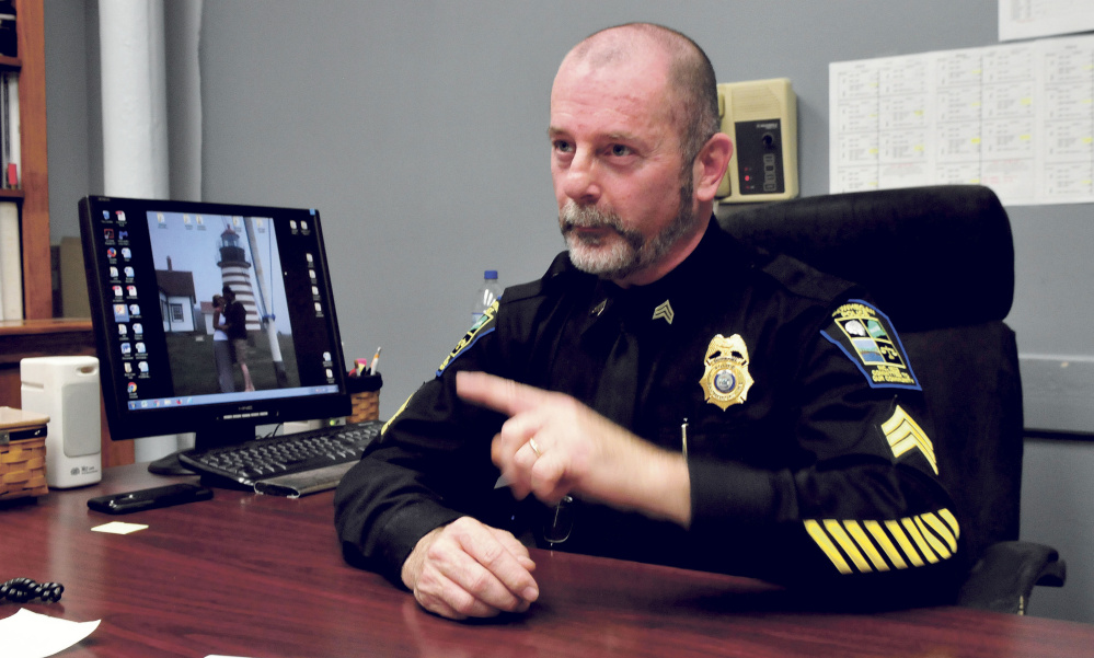 Skowhegan police Sgt. Joel Cummings, speaking Thursday at his office, has been appointed interim police chief following the departure of Donald Bolduc.