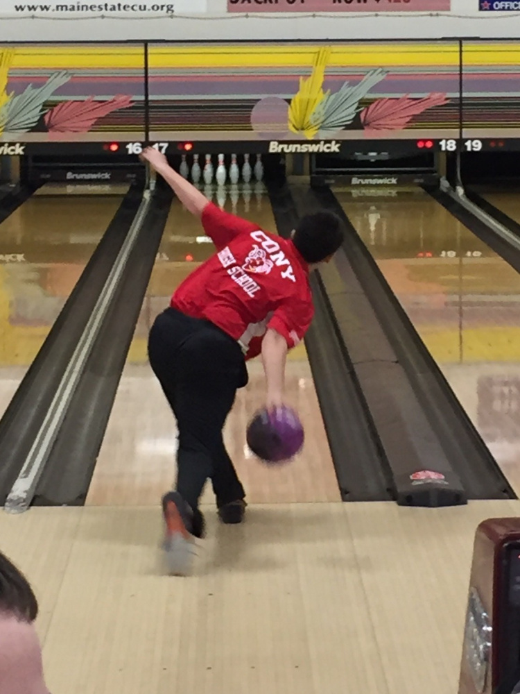 Cony bowler Jacob Sutter takes a turn at the Maine State U.S. Bowling Congress's state tournament back on March 5.