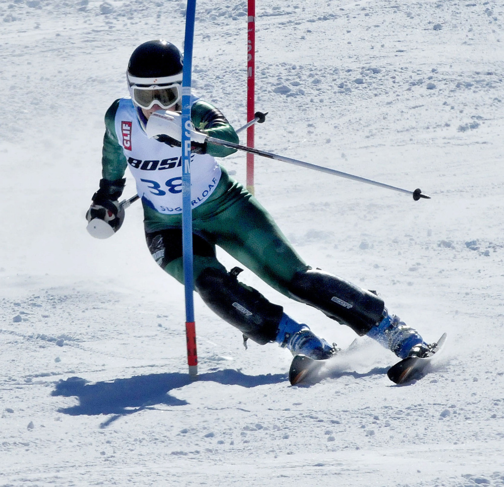 Carrabassett Valley Academy graduate Amelia Rowland competes in the second run of the women's slalom races during the U.S. Alpine Championships on Sunday at Sugarloaf.