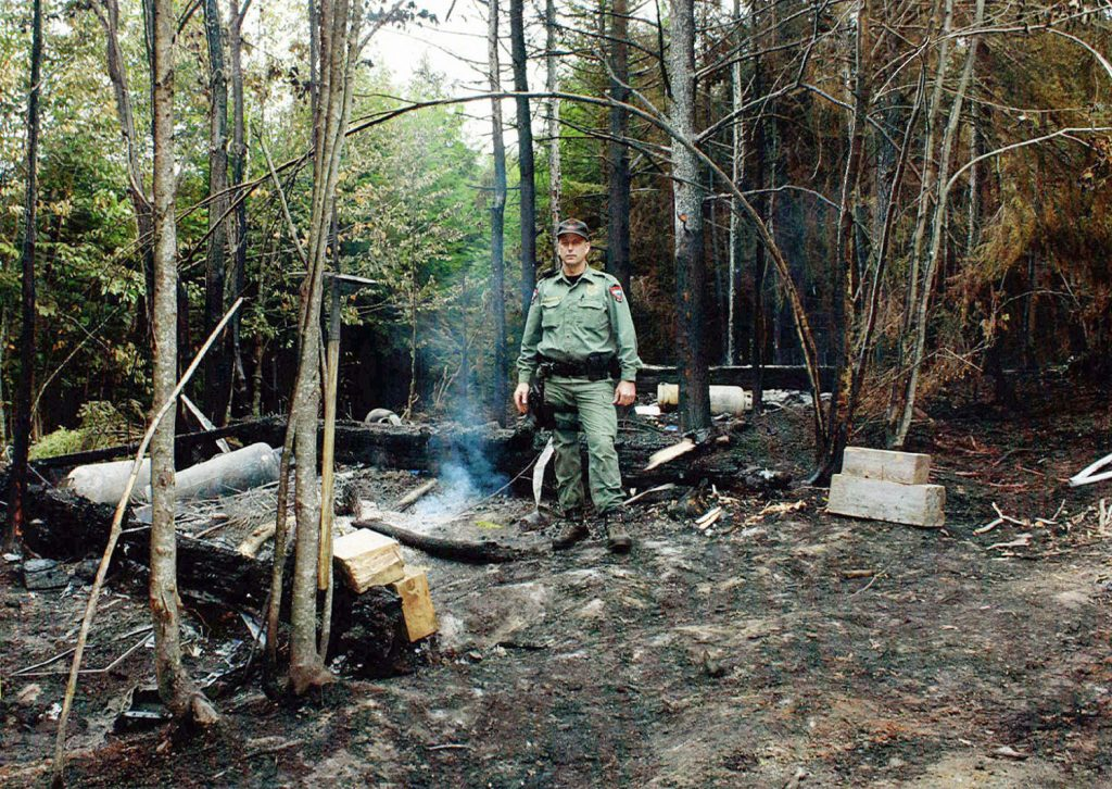 An officer for the Maine Department of Inland Fisheries &  Wildlife stands where a fire set by fleeing workers burned an area in a forest where authorities seized $9 million worth of marijuana in Township 37. Three men convicted in the enterprise were given sentences ranging from 5 to 14 years Thursday in U.S. District Court in Bangor.