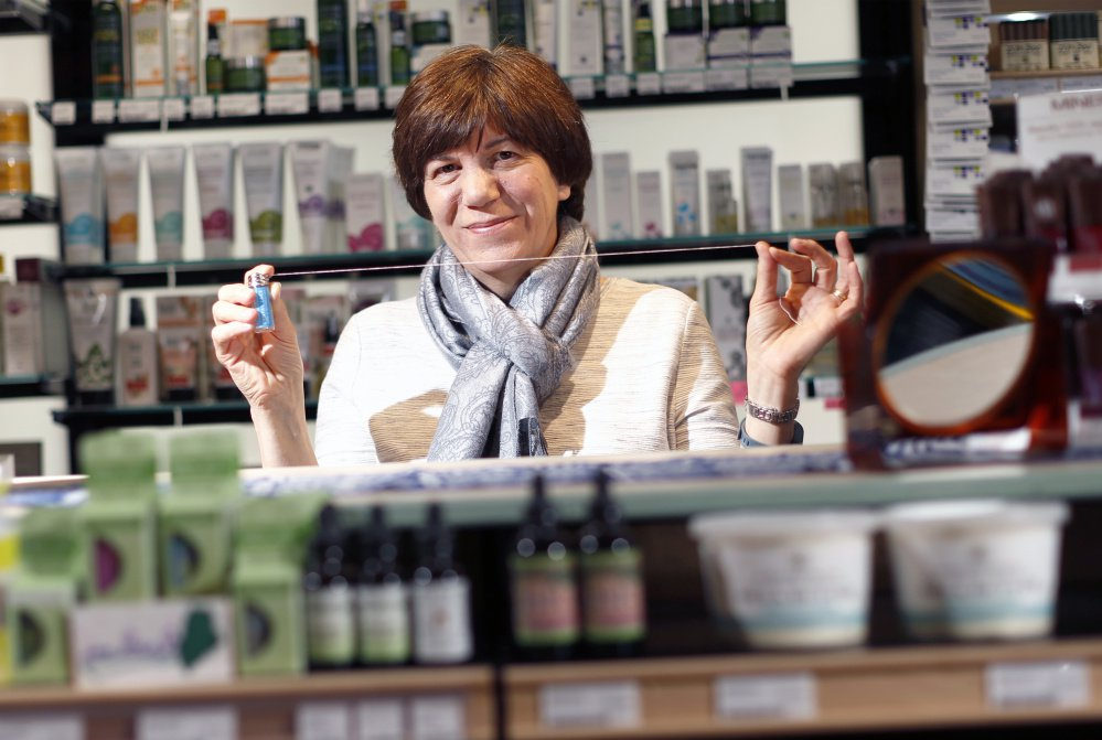 Dental Lace, Jodi Breau's reusable, sustainable version of dental floss, is only recently on the shelves in locations including Lois' Natural Marketplace in Portland, above. Breau started her business in January after years of research and dreaming from behind a school librarian's desk.