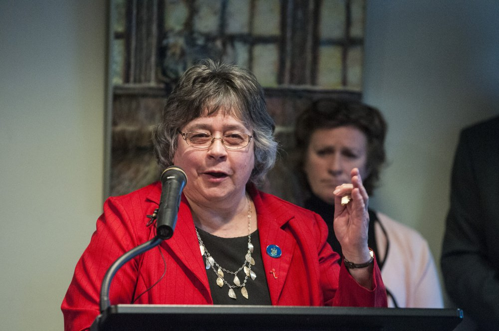 Rep. Anne Perry, D-Calais, at a news conference in April, said of public health nurse staffing,