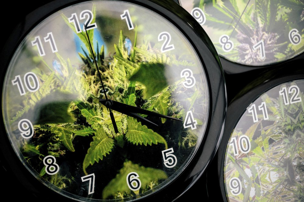 Set to the symbolic 4:20 time, weed patterns adorn clocks for sale in 2014 on the first of three days of Hempfest, Seattle's annual gathering to advocate the decriminalization of marijuana. April 20 marks marijuana culture's holiday, 4/20, when college students gather – at 4:20 p.m. – in clouds of smoke on campus quads and pot shops in legal weed states.