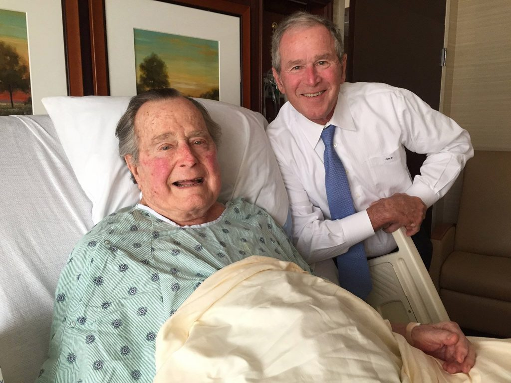 Former President George H.W. Bush got a visit from his son, former President George W. Bush, on Thursday at Houston Methodist Hospital in Houston, where he is recovering from a mild case of pneumonia.