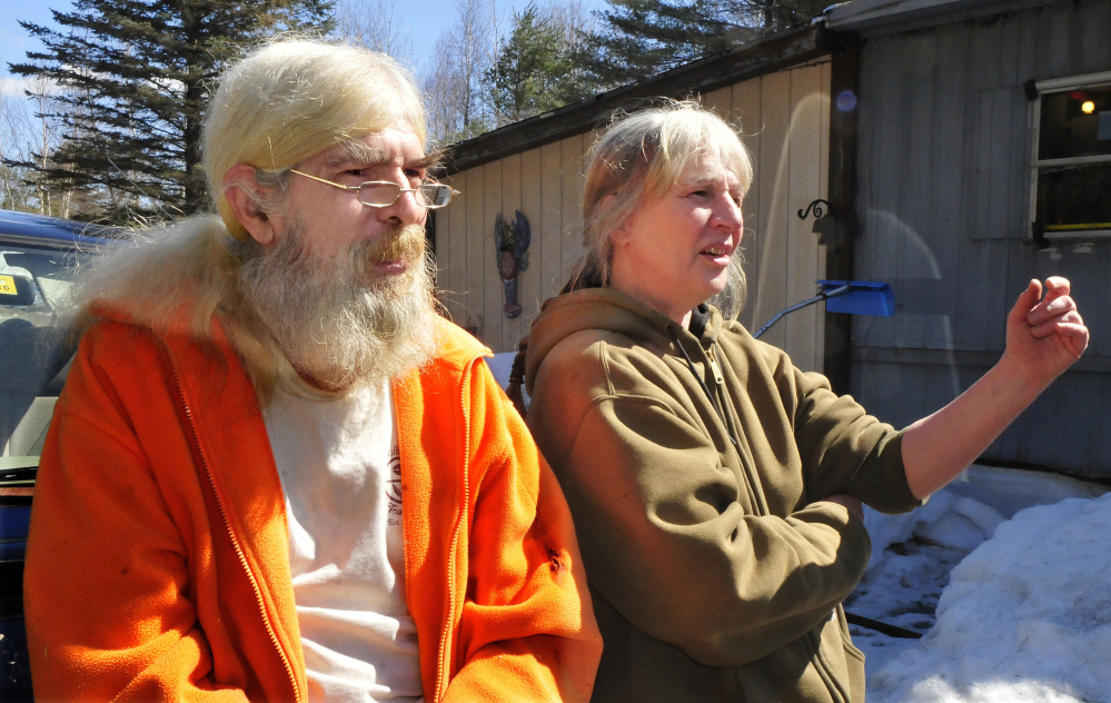 Ernie Glabau and partner Patricia Pagano of Burnham speak fondly about their neighbor Joyce Wood, who lived nearby at 261 South Horseback Road. Maine State Police on Sunday investigated the unusual circumstances in the early morning death of Wood.