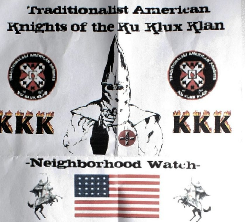 This Ku Klux Klan flier, which originally was folded into a sandwich bag, weighted with pebbles and left at the end of a driveway on South Freeport Road, was one of about two dozen such flyers found in Freeport and Augusta residents in January. Identical flyers also were found in Waterville on Monday morning and in Skowhegan this week.