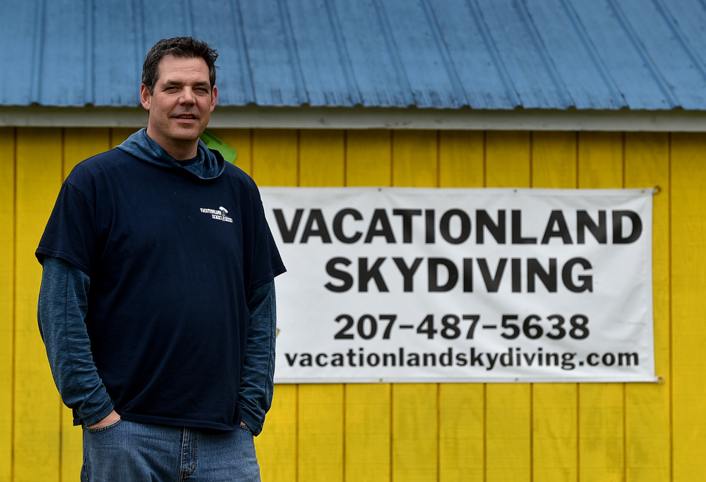 Brad Fisher, winner of the 2017 Elias A. Joseph Award from Mid-Maine Chamber of Commerce, stands at his skydiving business Thursday at the Pittsfield Municipal Airport in Pittsfield.