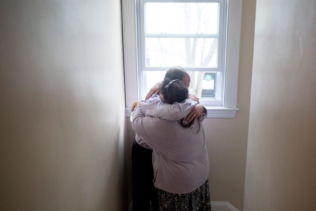 Anthony Sanborn hugs his lawyer, Amy Fairfield, at his friend's home just hours after walking out the door of the Cumberland County Jail – after 27 years in prison.