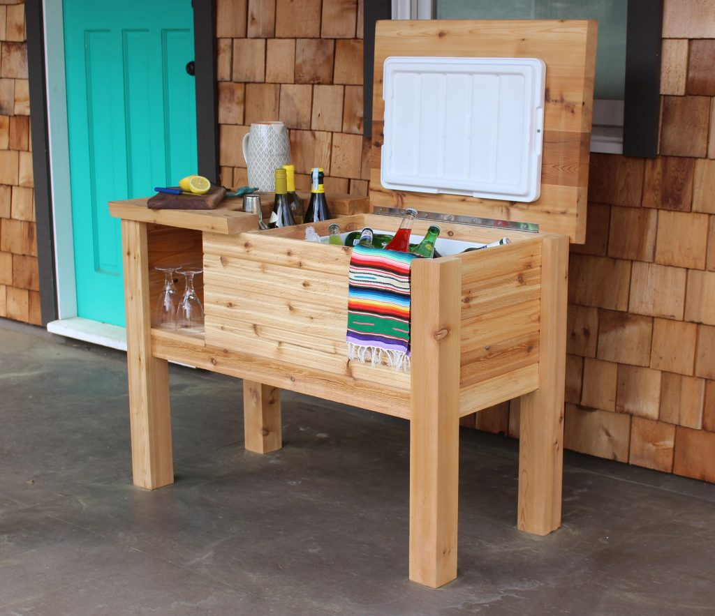 A deck bar with cooler is a handy addition for entertaining.