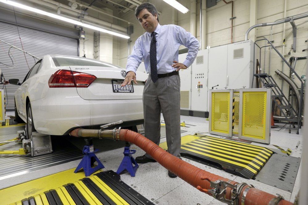 A 2013 Volkswagen Passat with a diesel engine is evaluated at the emissions test lab in El Monte, Calif., in 2015.