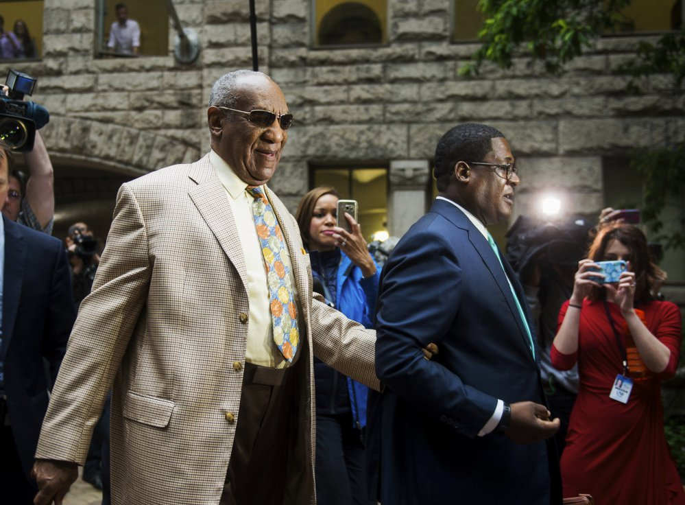 Bill Cosby arrives for jury selection in his sexual assault case at the Allegheny County Courthouse Monday in Pittsburgh. The case is set for trial June 5 in suburban Philadelphia.