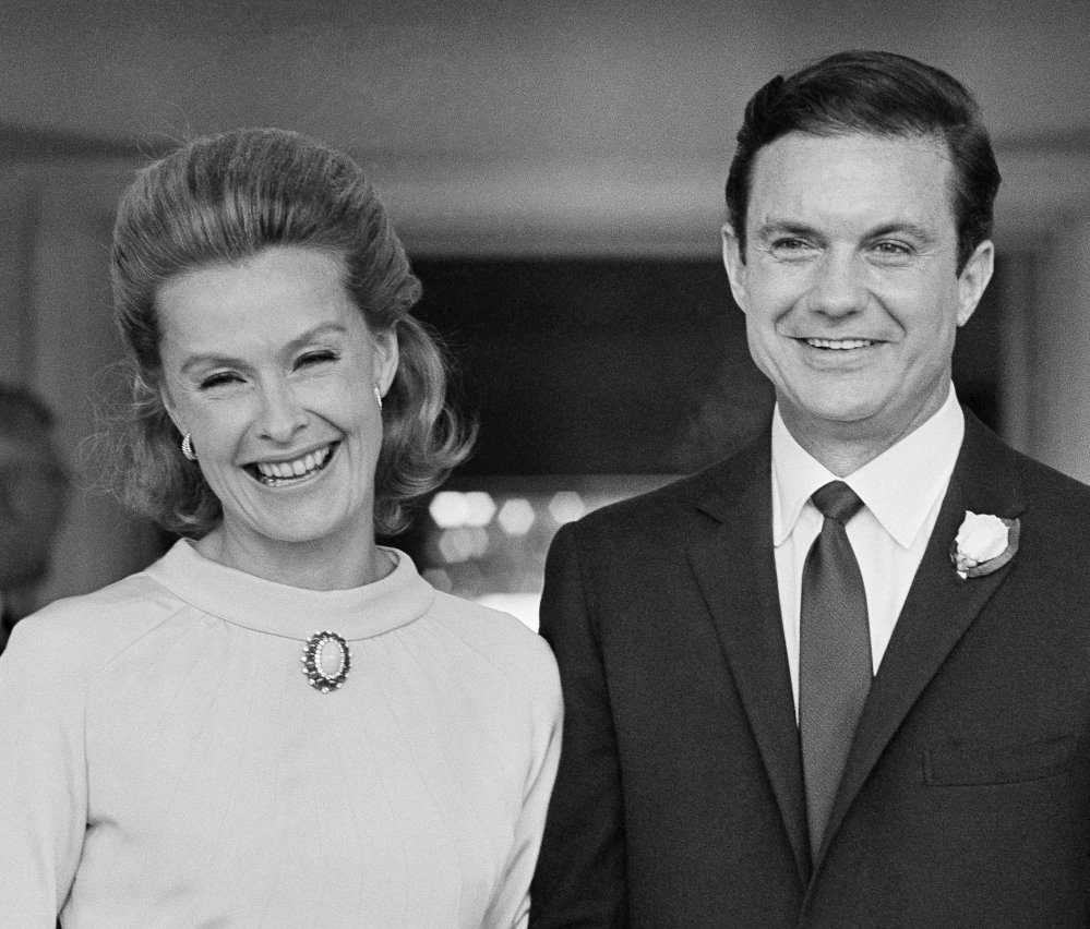 Dina Merrill, left, and actor Cliff Robertson appear at their wedding in 1966. She was raised in part on the Mar-a-Lago estate in Florida now owned by President Trump.