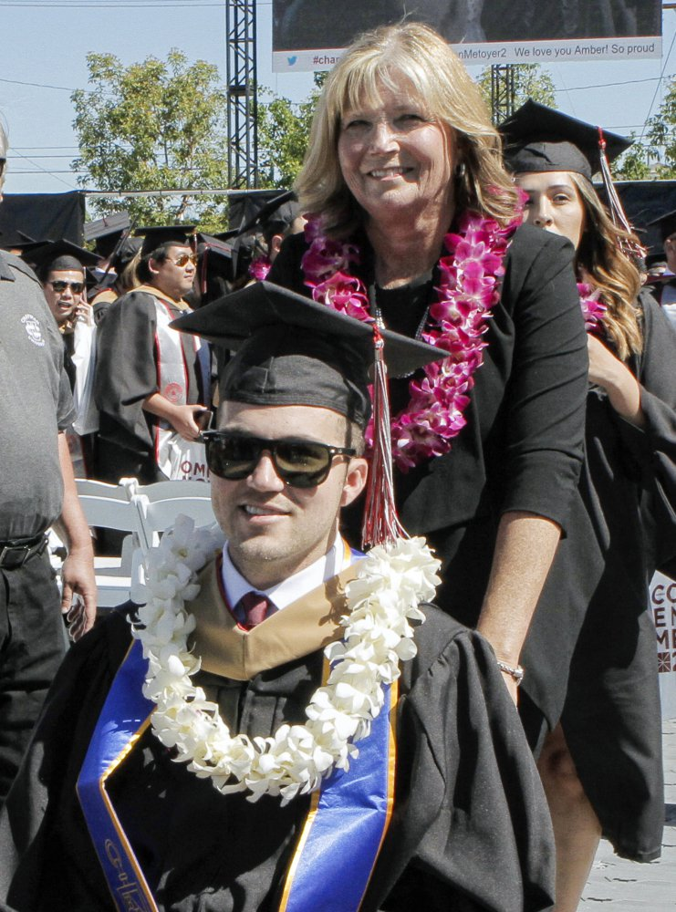 Judy O'Connor attended every class and took notes for her quadriplegic son, Marty, throughout graduate school.