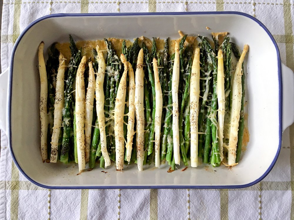 Roasted white and green asparagus with Parmesan and Romano.