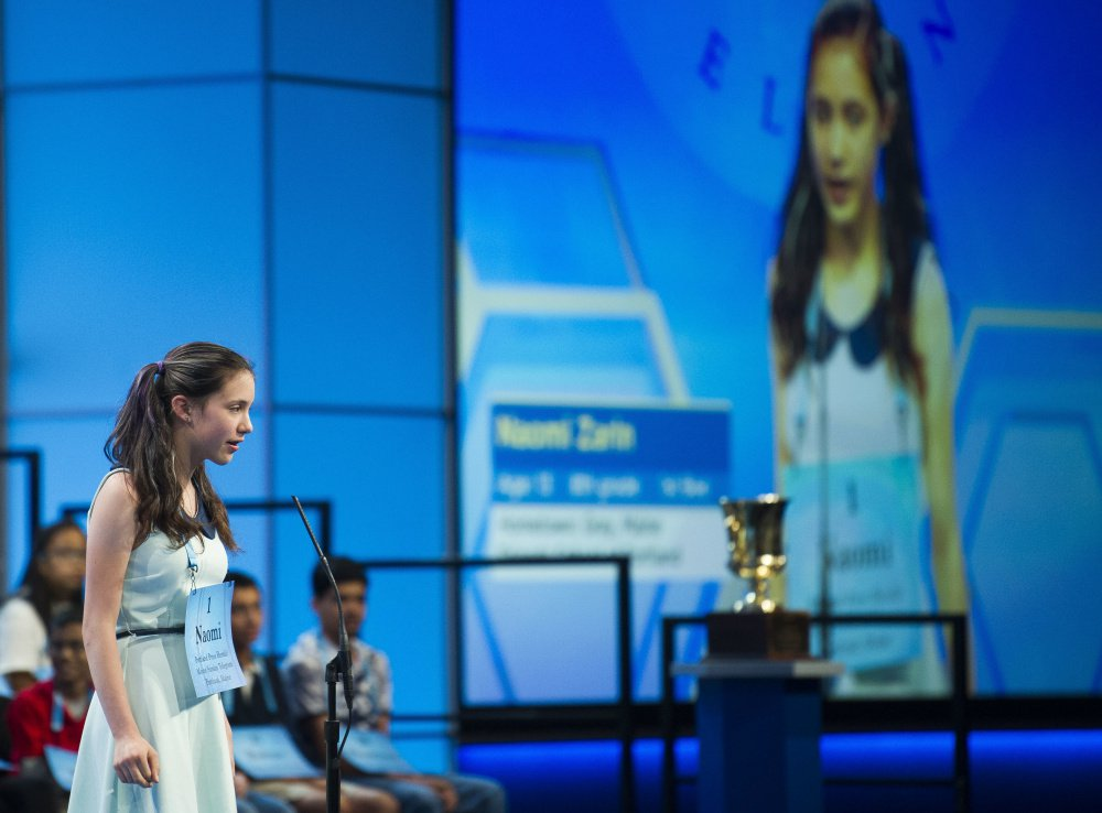 Naomi Zarin, 12, correctly spells a word Wednesday in the 90th Scripps National Spelling Bee in Oxon Hill, Md. She attends the Friends School of Portland.