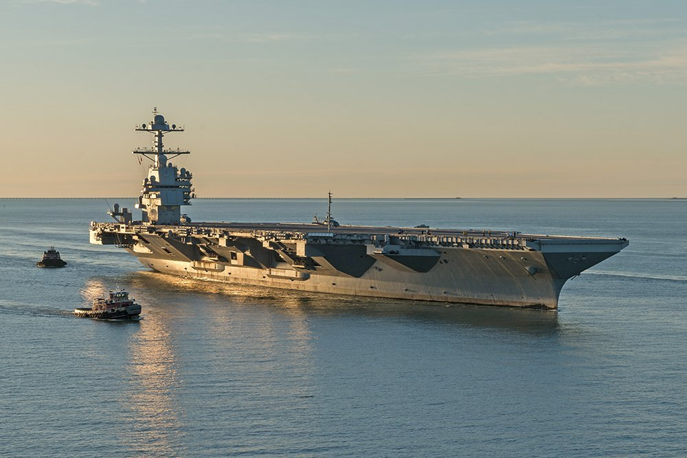 The aircraft carrier USS Gerald R. Ford pulls into the Navy shipyard in Norfolk, Va., for the first time on April 14. The first new U.S. aircraft carrier design in 40 years, the ship spent several days conducting sea trials of many of its key systems.