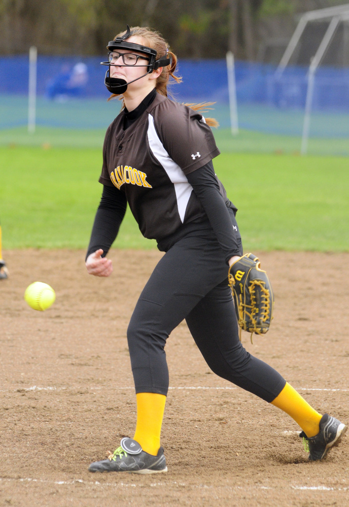 Maranacook's Paige Costa throws against Erskine during a game Wednesday in South China.