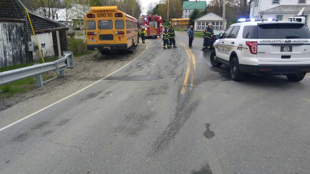 Emergency responders transported an 11-year-old complaining of pain to Franklin Memorial Hospital after a sedan collided with a school bus in Chesterville.