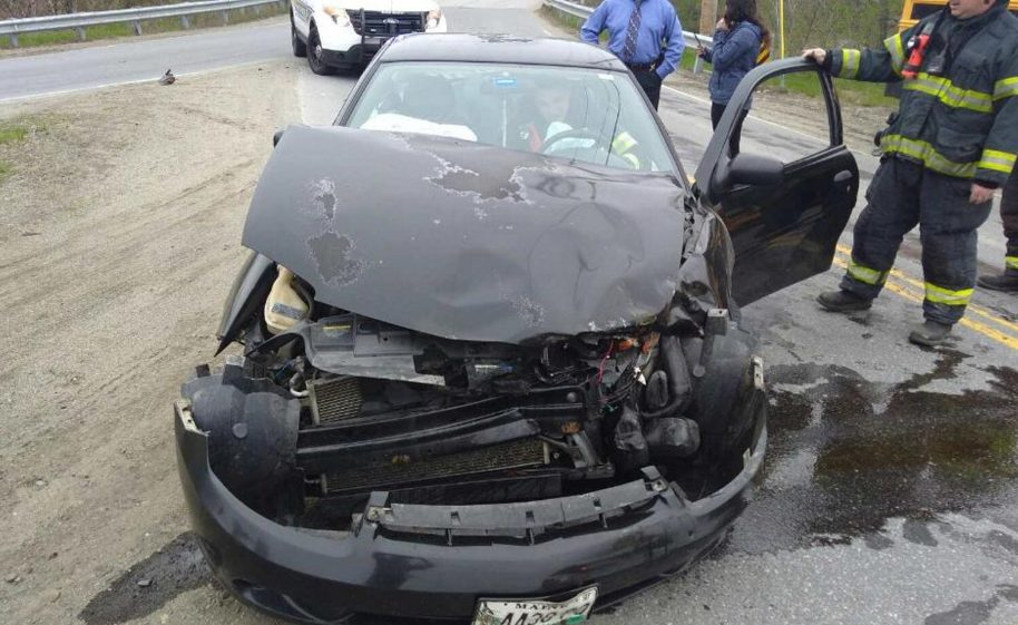 Brittany Dugal, 18, of Thorndike, was traveling down Route 156 in a black 2004 Chevy Cavalier when she allegedly failed to stop at a stop sign and collided with a school bus.