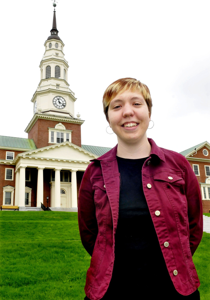 Colby College senior Michelle Boucher in front of Miller Library on campus in Waterville on Wednesday.