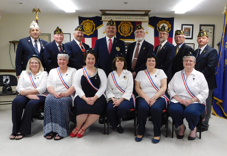 Contributed photo 2017-2018 Legion Auxiliary Officers, front from left, are Teresa Bradford, Denise Michaud, Jen Caron, Debra Devoe, Joan Caron and Joan Caron Fournier. The2017-2018 Legion Officers, back from let, are Amedeo Lauria, Gordon Smith, Joseph Michaud, Donald Caron, Anthony Culpovitch, Jim Rancourt, Harvey Moses and David Devoe. Joseph Tetreault not pictured.
