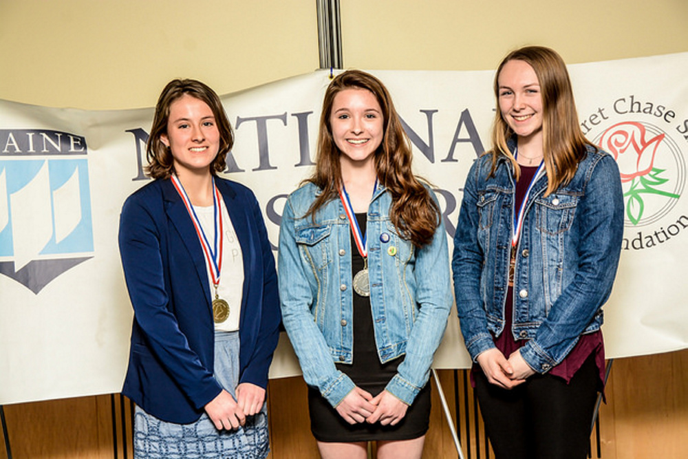 Maine National History Day winners in the Senior Paper category, from left, are Laura Parent, from Maranacook Community High School, placed first; Kiersten Jones, from Noble High School, placed second; and Autumn Littlefield, from Messalonskee High School, placed third.